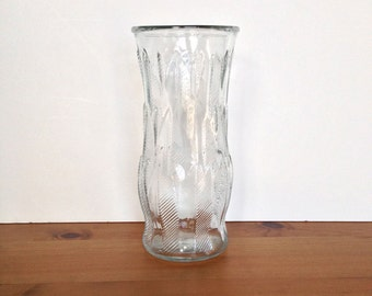 Vintage clear glass vase EO Brody fern etched planter