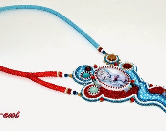 Dione - bead embroidery necklace