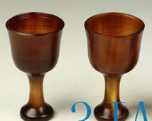 2pcs Cups Hand Carved Natural Yak Horn Mugs  -NZ00032