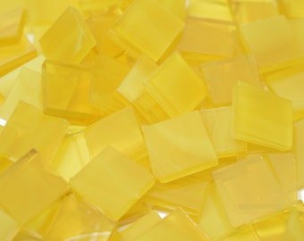 Wispy Yellow Hand Cut Stained Glass Mosaic Tiles - #112