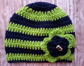 Seahawks beanie. Girls Seahawks beanie. Seahawks hat. Football hat