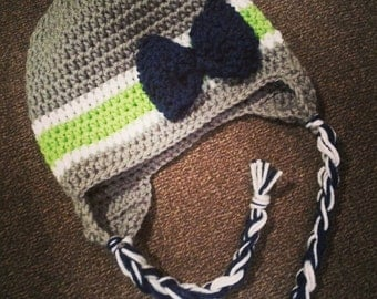 Seahawks beanie with earflaps. Seahawks hat.  Seattle seahawks. Beanie with earflaps.