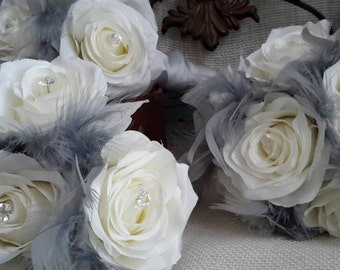 Silk Bridesmaid's Bouquet, Rose and Feather Bridesmaids Bouquet.Bouquet with Rinestones  Pearls, Wedding Bouquet,  Bouquet, Feather Bouquet