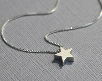 Star Necklace, Matte FInish Star Pendant on Sterling Silver Necklace Chain