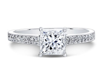 Solitaire 5.5mm Forever Brilliant Moissanite Princess Cut Engagement Ring
