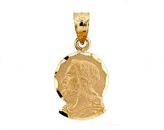 14K Yellow Gold Jesus Pendant, Jesus Pendant, Jesus Jewelry, Christian Jewelry, Religious Jewelry, Gold Jesus, Gold Pendant, Jesus