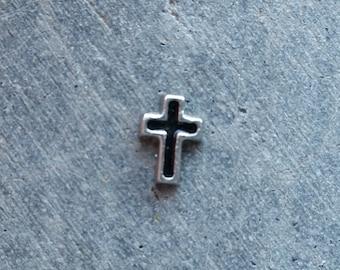 Floating Charm For Glass Memory Lockets- Black Cross Charm
