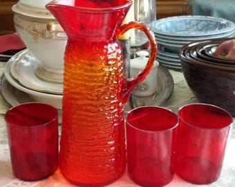 Vintage Red Glass Pitcher with Three Tumblers