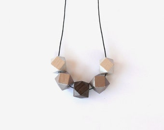 Geometric wooden necklace / Peach brown coffe silver neon wooden necklace / minimalist wooden necklace / modern necklace / natural