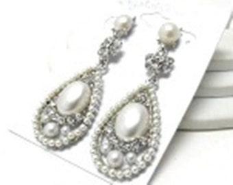 Faux Pearl Drop Earrings - Free Shipping