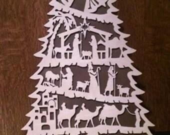 Laser Cut Nativity Tree