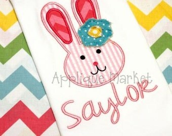 Girls Easter Bunny Shirt - Bunny with Shabby Flower Shirt, Bodysuit, Infant Gown - Personalized Easter Shirt