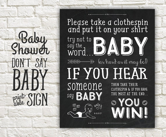 Don T Say Baby Shower Game Sign Chalkboard Shower