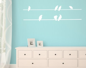 Birds On A Wire Wall Sticker, Bird Wall Decals, Bird Wall Stickers, Home Wall Art, Wall Transfers - AN063