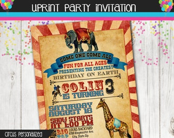 Vintage Circus Invitation - Printable -