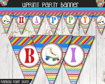 Rainbow Chevron Roller Skate Happy Birthday Personalized Banner Chalkboard finish or white.