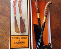 Vintage Clothes Brush and Shoe Horn / Wall Plaque Set / Made in Japan