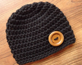 Crocheted Black Baby Boy Hat with Wooden Button, Baby Shower Gift, Newborn to 5T - MADE to ORDER