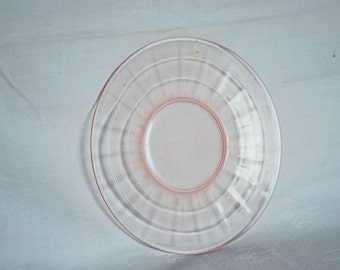 """Pink depression-6"""" Block Optic-saucer-1930s-collectable"""