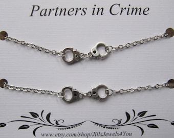 Double Partners in Crime Bracelet with handcuff charms - 2 Friendship Bracelets - Best friend bracelet - BFF gift - Best Friend gift