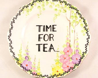 Time for Tea Lover Floral Vintage Decorative Side Plate Saucer England Bone China Teacup Mothers Day Mother's Flowers Pretty Decoration Gift