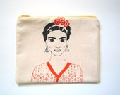 Frida Kahlo zipper pouch screen printed