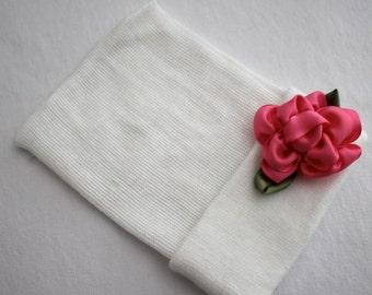 Newborn Beanie Hospital Hat, Cotton, Hot Pink, Ribbon, Flower