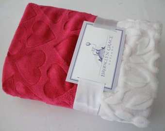Embossed Hearts in Fuschia Print with White Embossed Vine Minky on Reverse - Stroller Blanket, Baby Bedding, Pink, Hot Pink