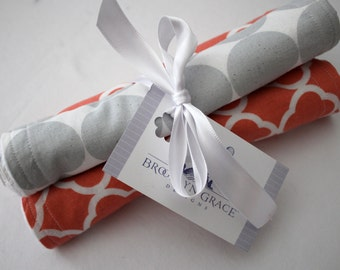 Coral and White Lattice with Gray and White Polka Dots Burp Pads - Cloths - Cotton and Soft Chenille - Baby, Shower Gift, Salmon