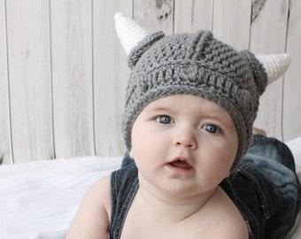SALE 3 months VIKING hat beanie crochet handmade bespoke made to order knitting newborn baby children toddler adult