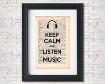 Keep calm and listen music Dictionary art print - Upcycled dictionary art - Book print page art #018