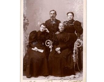 Vintage Photograph of Family 1880s Cabinet Card or Carte De Visite