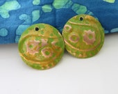 Genuine Copper Embossed Round Earring Dangles in Olive Green and Gold   HM15-014E