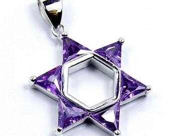 Jewish Star of David Purple CZ & .925 Sterling Silver Pendant, T76