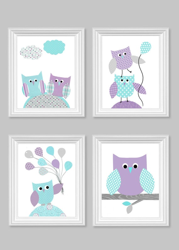 Owl Nursery Art Gray Aqua Purple Baby Girl Room Decor