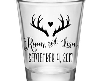 "50x Custom Wedding ""Antlers"" Shot Glasses"