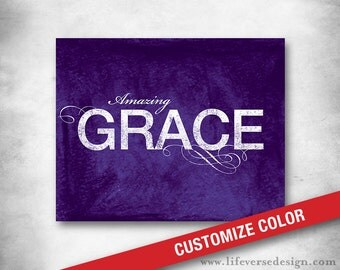 Amazing Grace - Hymn Lyrics - Subway Art - Inspirational Quote - Modern Typography - Christian Wall Art - Spiritual Word Art - CUSTOM COLOR