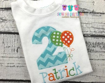 2nd Birthday Boy Shirt - Balloon Birthday Shirt - Balloon Birthday Outfit - 1st Birthday shirt - Boy Birthday Clothes