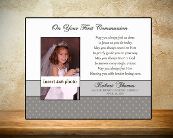 Personalized First Communion Frame - Gray/Silver Theme