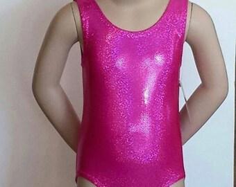 3T Gymnastics Leotard, Girls Size 3T -  Hot Pink Sparkle Leotard - Gymnastics and Dance Leotard