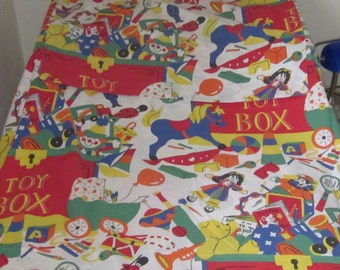 Vintage Single Twin Duvet Cover & Pillowcase Set, Colourful Toy Box Kids Bedding Or Project  Stash Fabric