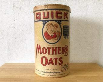 Vintage Quaker Quick Mother's Oats Cardboard Canister Cedar Rapids / Quaker Oats Box / Farmhouse Primitive Rustic Decor / General Store