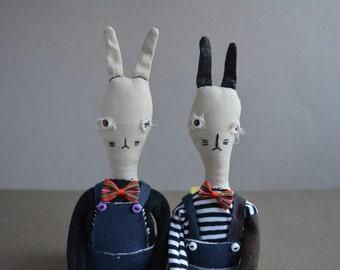 Bunny toy - Soft fabric doll - Stuffed animal - Easter boy rabbit - Small doll - Animal - Gift for boy girl