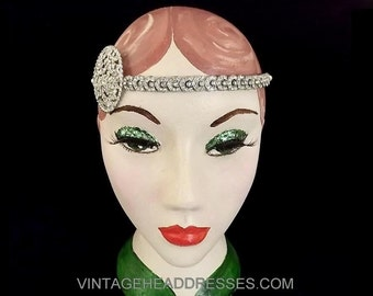 1920's Art Deco Vintage Forehead Band, Flapper Headpiece, 1920s Circlet, Vintage Wedding Headpiece, Bridal Forehead Band, Art Deco Browband