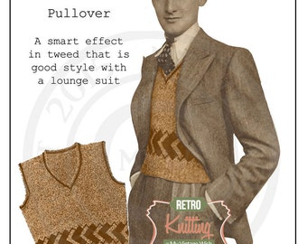 1930s Men's Pullover Vintage Knitting Pattern - PDF Knitting Pattern - Instant Download