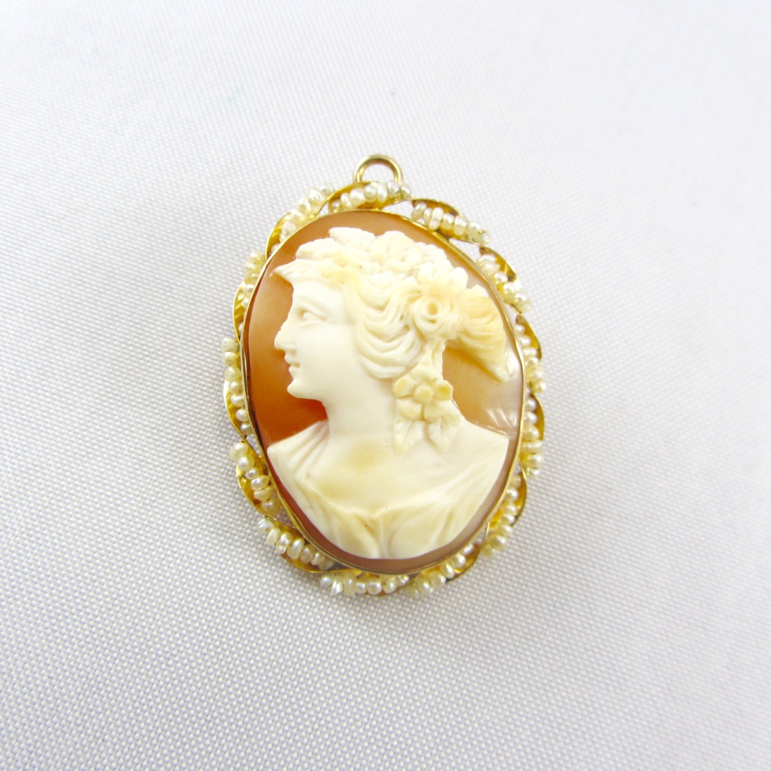 antique 10k gold cameo pendant brooch edwardian by