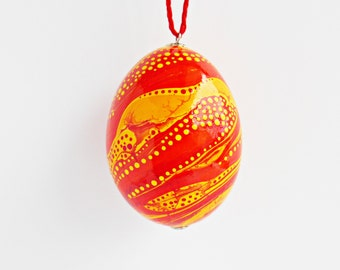 FREE SHIPPING, Hand painted egg, Chicken egg shell, Easter home decorations, Easter home decor, Pysanka, Pysanky, Orange, Yellow, Gold, Red