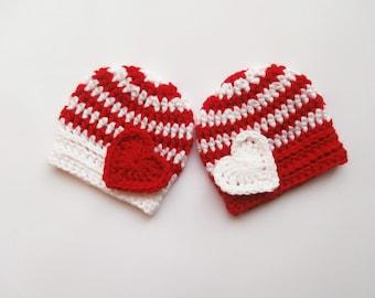 Baby Twins Hats - Newborn Twins - Crochet Striped Hats for Twins - Newborn Baby Photo Prop - Newborn Baby Twins