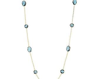 20% Off 14K Gold Gemstone Necklace With London Blue Topaz