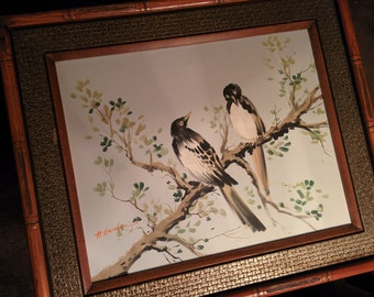 Original framed acrylic painting of two birds in a tree